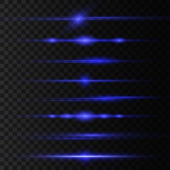 Blauwe horizontale lens flares set, laserstralen