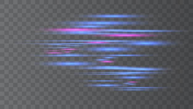 Blauwe horizontale lens flares