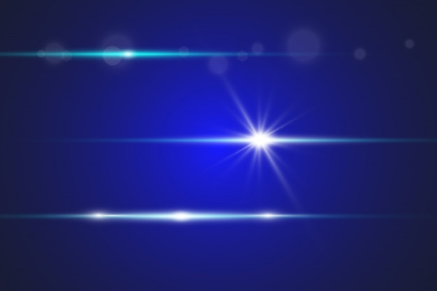 Blauwe horizontale lensfakkels.