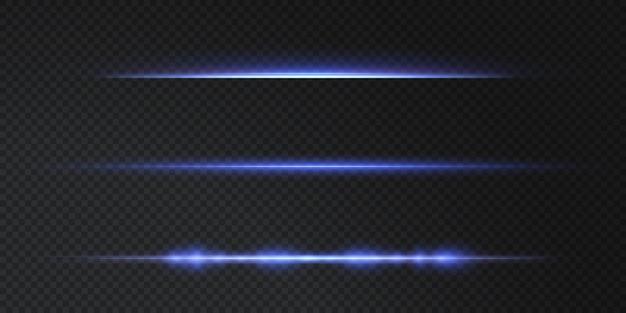 Blauwe horizontale lensflares pack laserstralen horizontale lichtstralen