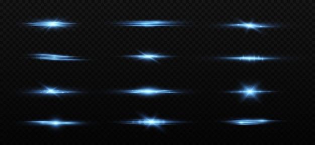 Blauwe horizontale lensflares pack laserstralen lichtflare