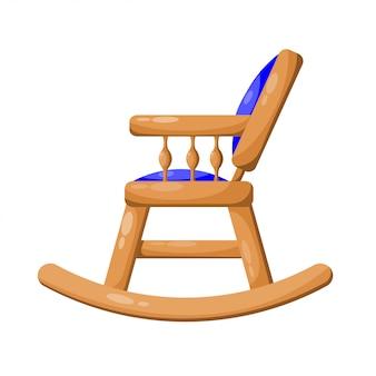 Blauwe houten schommelstoel