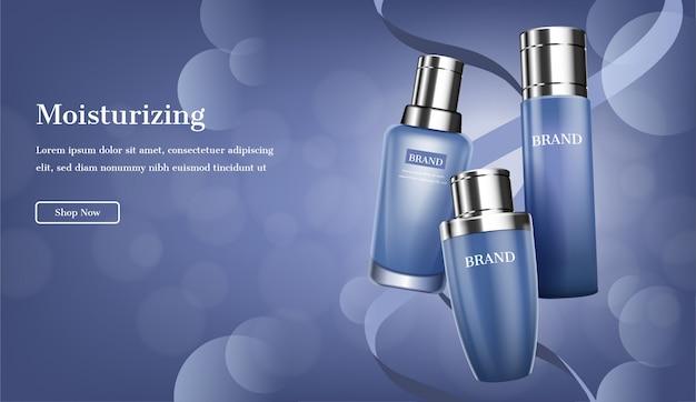 Blauwe huidverzorgingsset met linten en glitterlicht