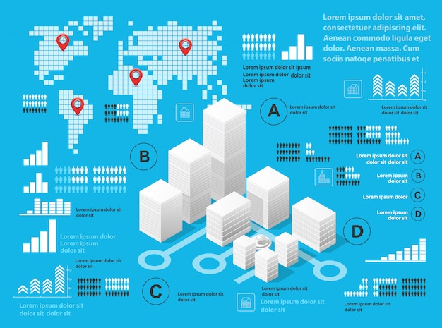 Blauwe illustratie infographics