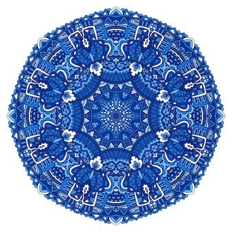 Blauwe indiase bloemen paisley ornament etnische mandala medaillon met bloemenprint