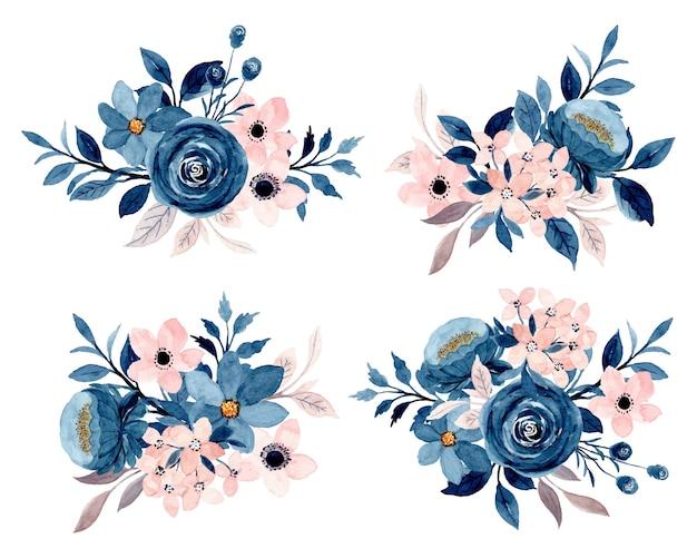 Blauwe indigo roze bloemenboeketcollectie met waterverf