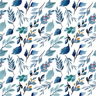 Blauwe indigo verlaat aquarel naadloze patroon