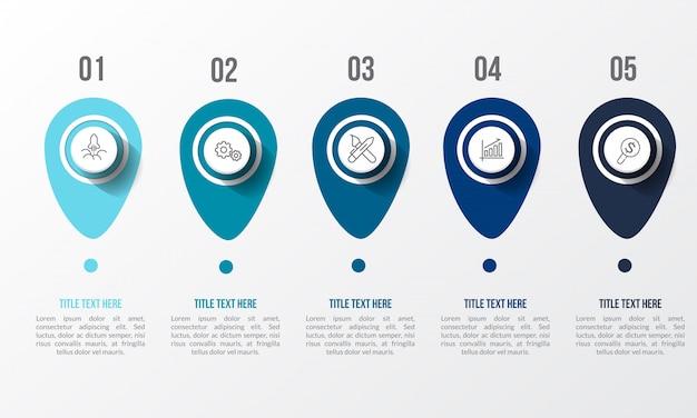 Blauwe infographic met 3d-tabel