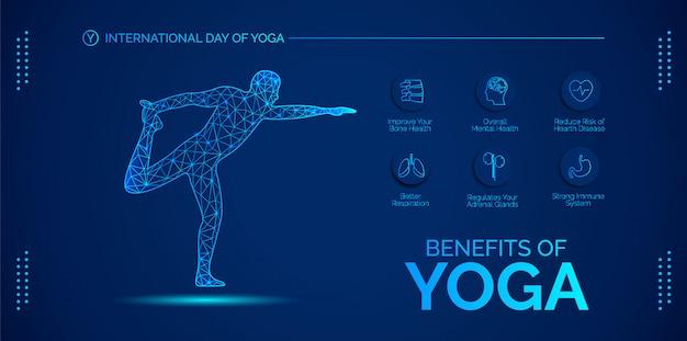 Blauwe infographic over de voordelen van yoga. ontwerp voor banners, achtergronden, posters of kaarten.