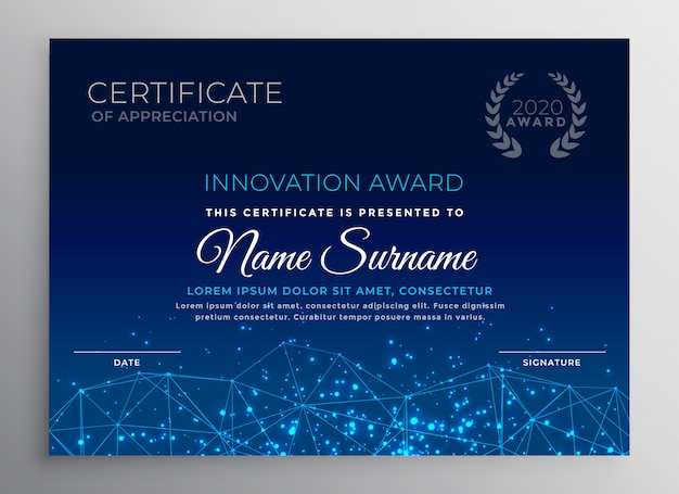 Blauwe innovatie technologie sjabloonontwerp