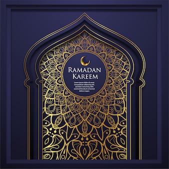 Blauwe islamitische ramadan kareem met gouden ornament achtergrond