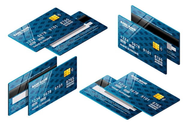 Blauwe isometrische creditcardverzameling