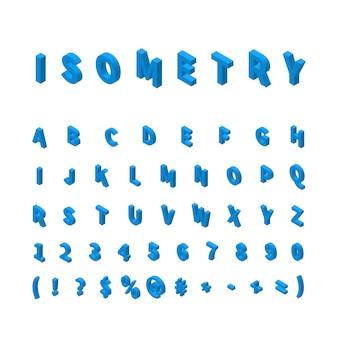 Blauwe isometrische lettertype geïsoleerd op wit