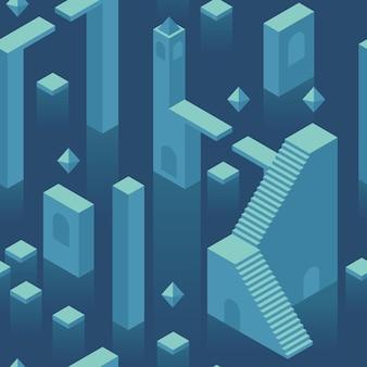 Blauwe isometrische minimale abstracte onderwater stad naadloze patroon psychologie diep van onderbewustzijn
