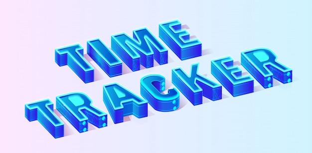 Blauwe isometrische tijd tracker samenstelling