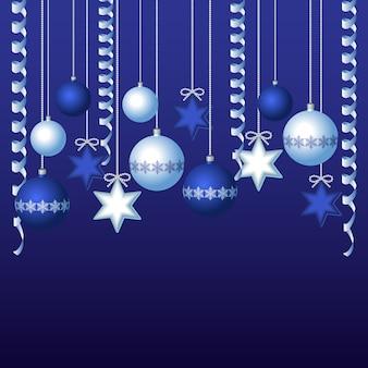 Blauwe kaart met de illustratie van kerstmisballen