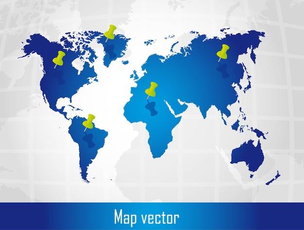 Blauwe kaart met push pins over zilveren achtergrond vector