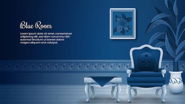 Blauwe kamer achtergrond