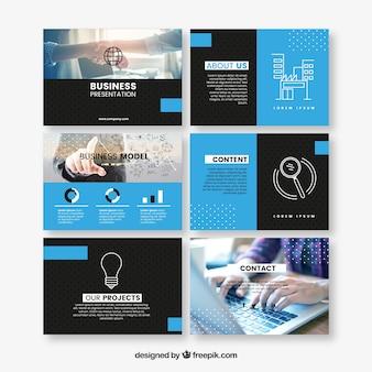 Blauwe kantoorbehoeften bedrijfspresentatiesjabloon