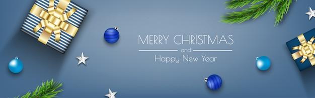 Blauwe kerst banner met geschenkdozen