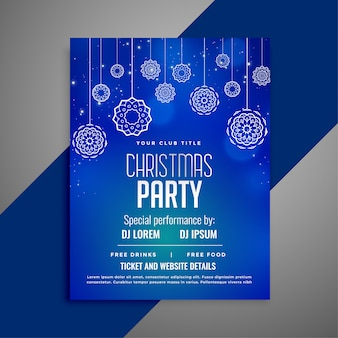 Blauwe kerst flyer sjabloon in decoratief design