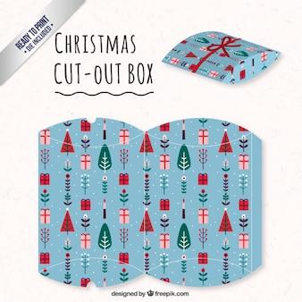 Blauwe kerst uitgesneden doos
