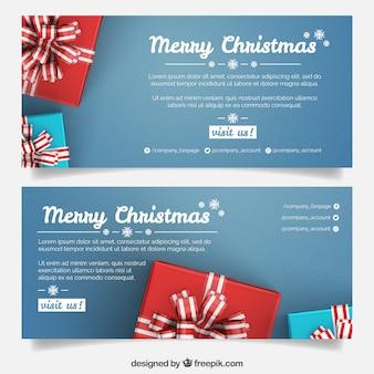 Blauwe kerstbanners met cadeaus