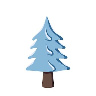 Blauwe kerstboom in de sneeuw feestelijke decoratie voor nieuwjaar en vakantie