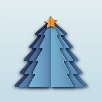 Blauwe kerstboom in papieren stijl