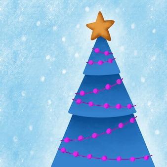 Blauwe kerstboom met een ster en een guirlande