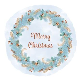 Blauwe kerstkrans met pijnboomtakken, veren en bessen
