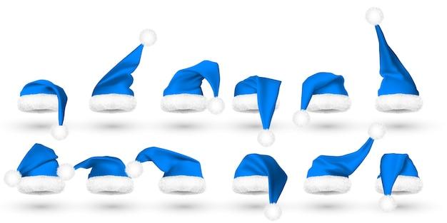 Blauwe kerstman hoed geïsoleerd op een witte achtergrond