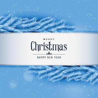 Blauwe kerstmisboombladeren die achtergrond begroeten