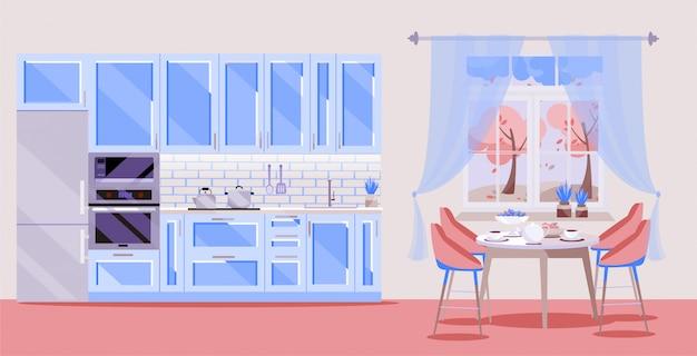 Blauwe keuken ingesteld op roze achtergrond met keuken accessoires: koelkast, oven, magnetron. eettafel met 4 stoelen bij raam.