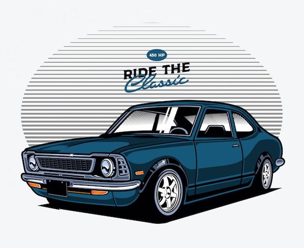 Blauwe klassieke auto