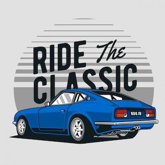 Blauwe klassieke raceauto