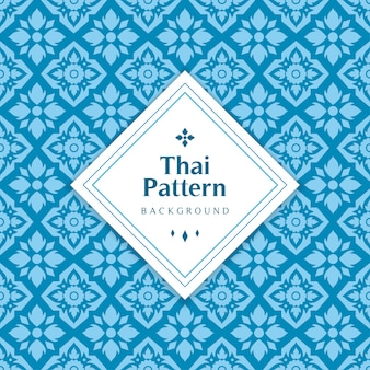 Blauwe klassieke thaise naadloze patroonillustratie.
