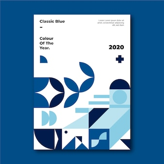 Blauwe klassieke vormen poster sjabloon