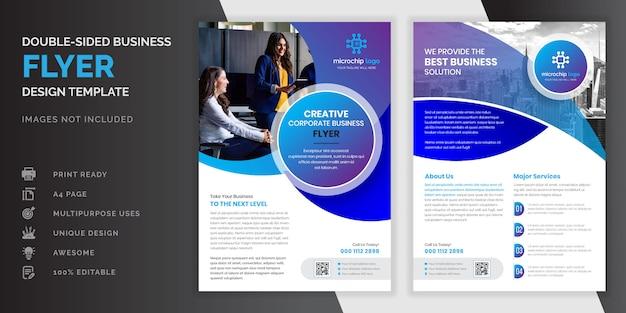 Blauwe kleur abstracte creatieve moderne professionele dubbelzijdige zakelijke flyer