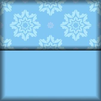 Blauwe kleur achtergrond met indiaas wit patroon voor ontwerp onder uw logo of tekst