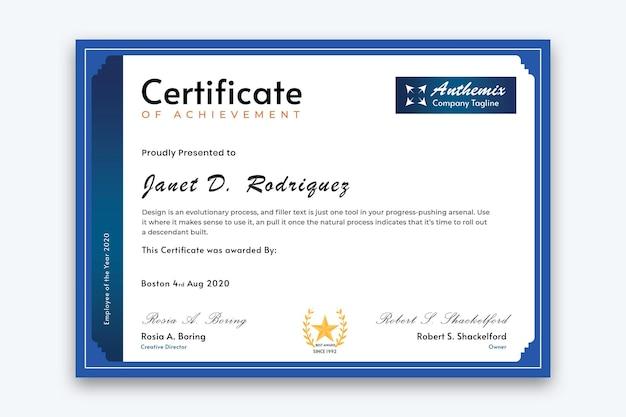 Blauwe kleur corporate certificaatsjabloon vector premium vector