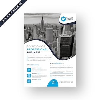 Blauwe kleur corporate flyer ontwerpsjabloon vector