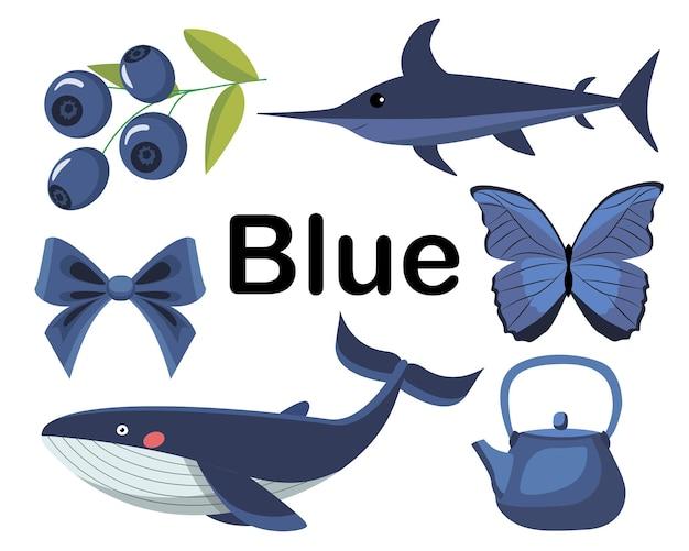 Blauwe kleur. een reeks plaatjes. de collectie omvat marlijn, walvis, bosbessen, vlinder, theepot, ui.