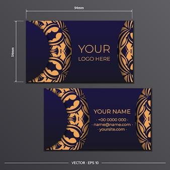 Blauwe kleur visitekaartje ontwerpsjabloon met luxe patronen. een visitekaartje voorbereiden met een plaats voor uw tekst en vintage ornamenten.