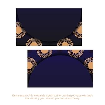 Blauwe kleur visitekaartje ontwerpsjabloon met luxe patronen. vector visitekaartje voorbereiding met plaats voor uw tekst en vintage ornament.