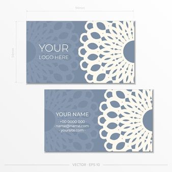 Blauwe kleur visitekaartje ontwerpsjabloon met luxe patronen. visitekaartje voorbereiding met vintage ornament.