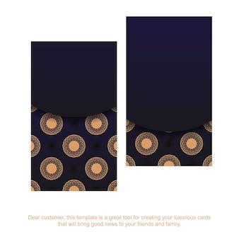 Blauwe kleur visitekaartje ontwerpsjabloon met luxe sieraad. vector visitekaartje klaar met plaats voor uw tekst en vintage patronen.