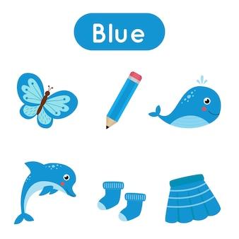 Blauwe kleur werkblad. basiskleuren leren voor kleuters. omcirkel alle blauwe objecten. handschriftoefening voor kinderen.