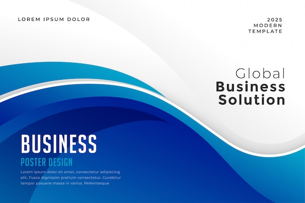 Blauwe kleur zakelijke presentatie golvende presentatiesjabloon
