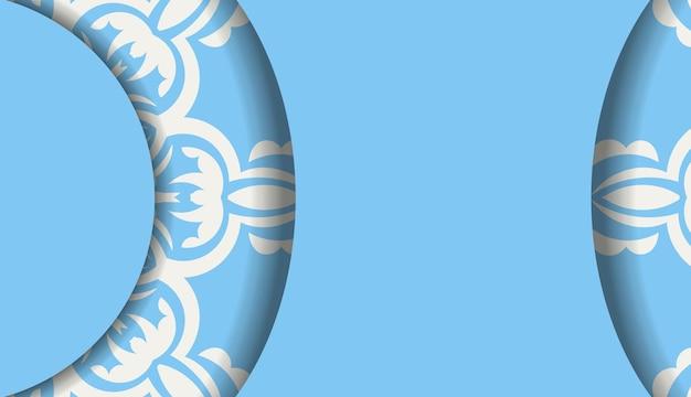 Blauwe kleurbanner met vintage wit patroon voor ontwerp onder uw logo